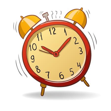 despertador: ilustraci�n. Caricatura rojo despertador con campanas de oro Vectores