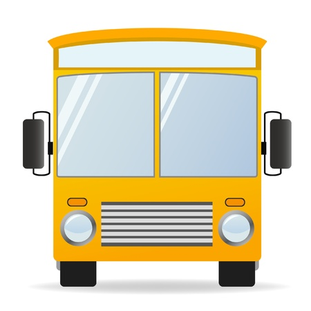 front wheel: illustration. Cartoon yellow bus in front view