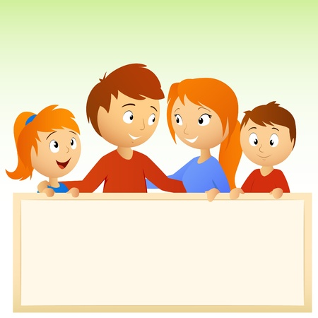 illustration. Cartoon happy family holding blank sign Vector