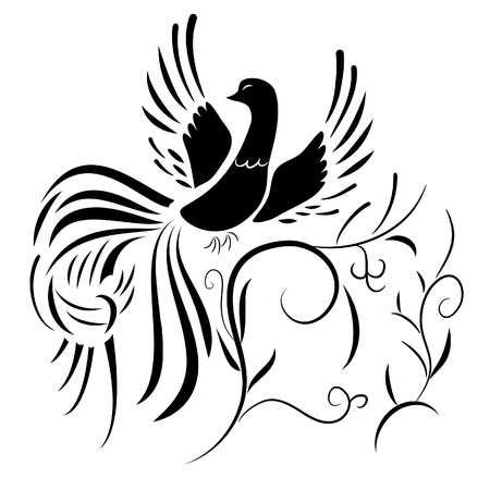 blackbird: illustration. Silhouette of fantasy bird with abstract plants pattern