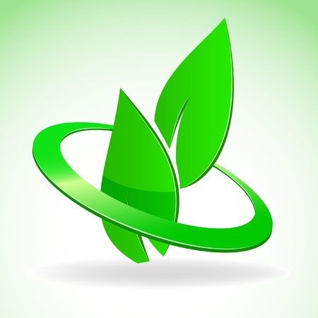 natural logo: illustration. Emblem of two green leaves in glossy circle