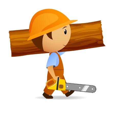 leñador: ilustración. Leñador de dibujos animados con Sierra de cadena y tronco al hombro Vectores