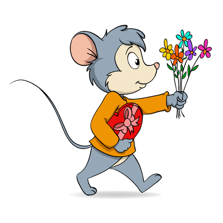 illustration. Cartoon cute mouse with heart valentine gift box and flowers Vector