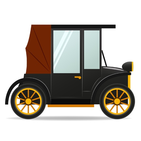 illustration. Cartoon old retro car in black color. Vector