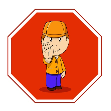 illustration. Cartoon warning sign stop with man in orange clothing Stock Vector - 8893416