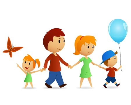 happy family: illustration. Family walking on path outdoors smiling Illustration