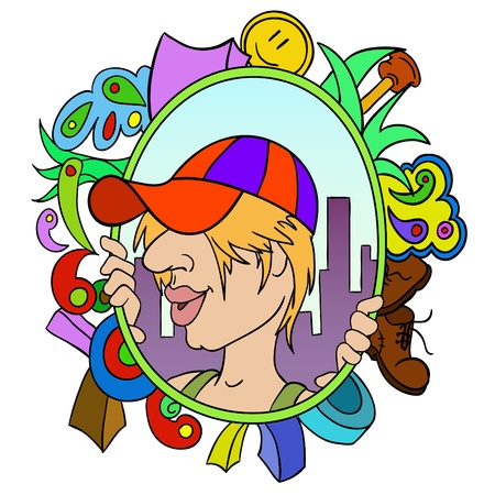 urbanized: Cartoon teen in cap with abstract urban background Illustration