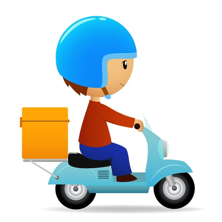 cycle ride: illustration. Delivery cartoon scooter with big orange box
