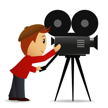 Ilustración vectorial. Hombre de dibujos animados disparar el cine con cámara de película