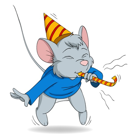 Vector illustration. Cute cartoon mouse blow in fife Vector