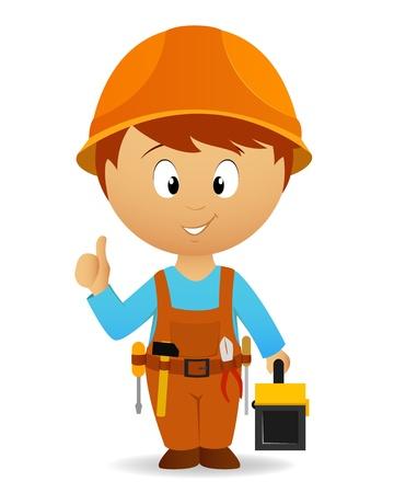 dělník: Vector illustration. Cartoon handyman with tools belt and toolbox Ilustrace