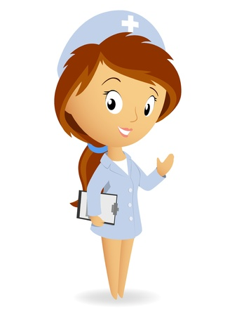 Vector illustration. Cute female nurse with tablet notepad chart Illustration