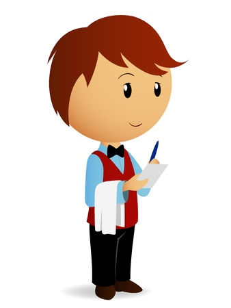 order: Vector illustration. Cartoon waiter with towel on his hand take an order.