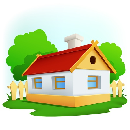 illustration. Cartoon rural house with among trees and fence