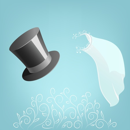 bridal: Vector illustration. Top hat and wedding veil with floral ornament for greeting card Illustration