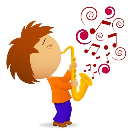 musical event: Vector illustration. Cartoon saxophonist with abstract music note