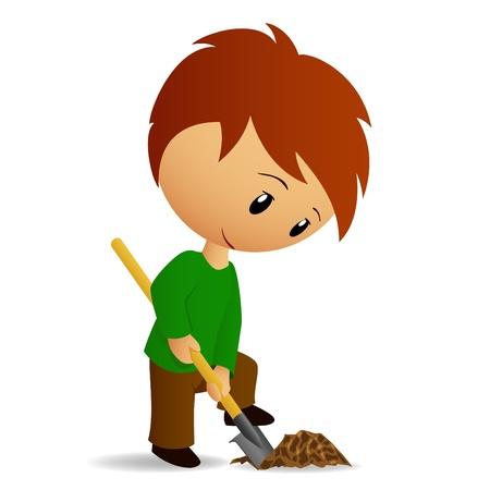 digging: Young Man Working digger with spade
