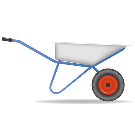 Vector illustration. Cartoon wheelbarrow on white background Stock Vector - 9344489