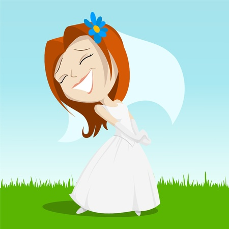 bridal veil: Vector illustration. Cartoon happy bride on green grass with blue flower in her hair