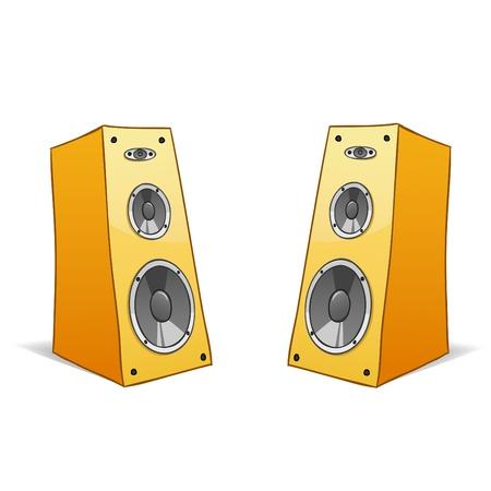 speaker box: Ilustraci�n vectorial. Dos mano de vector dibujado oradores de dibujos animados