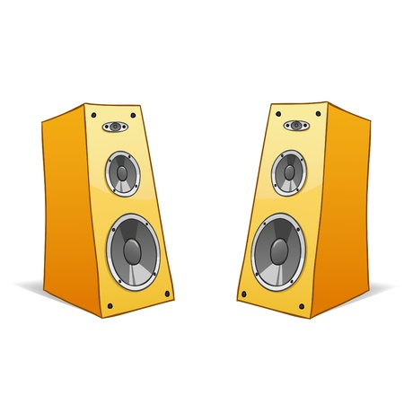 stereo: Vector illustration. Two vector hand drawn cartoon speakers