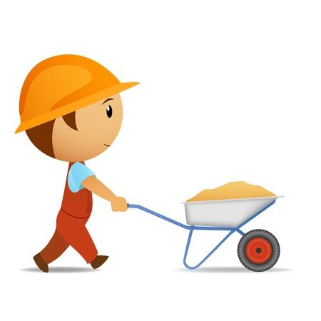 Vector illustration. Cartoon vector worker with wheelbarrow Illustration