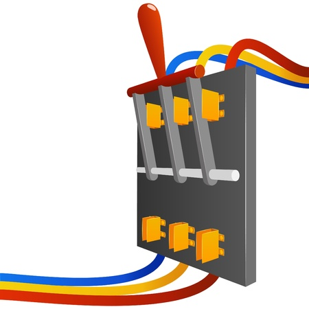 electrical circuit: Illustrazione vettoriale. Switch breaker grande vettore con fili