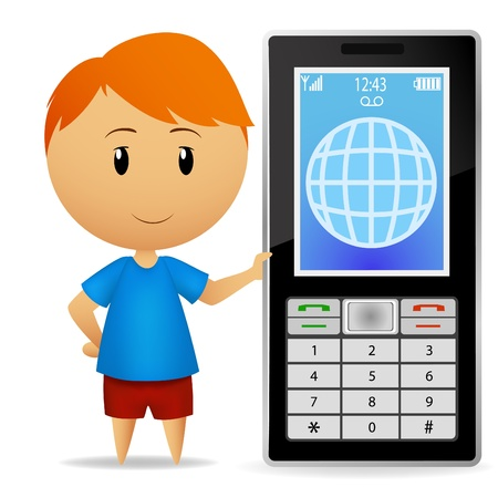 cellphone in hand: Vector illustration. Smiling cartoon boy with big cell phone