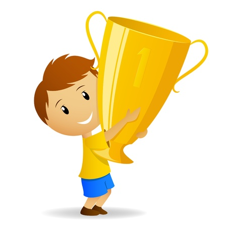 trofé: Vector illustration. Cartoon young winner with golden trophy cup