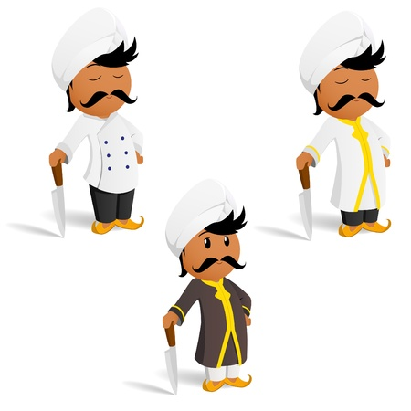 indian hair: Vector illustration. Set of cartoon indian male cook chef with moustache