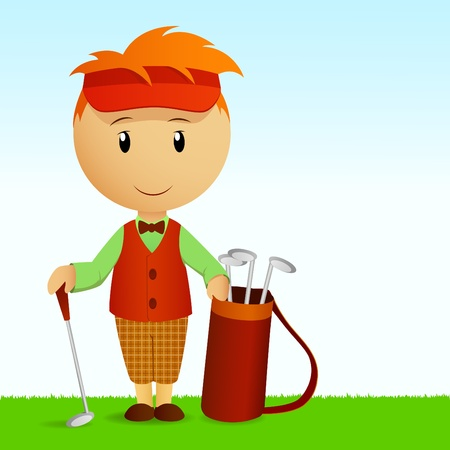 Vector illustration. Cartoon young man with bag of golf clubs
