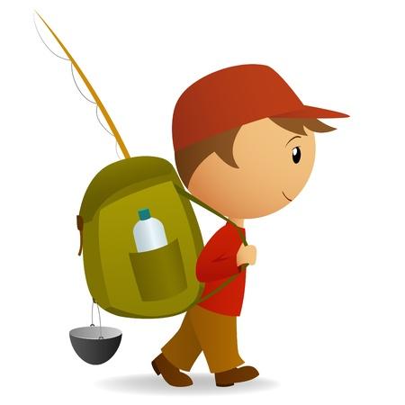 zaino: Illustrazione vettoriale. Uomo viaggio cartone animato con grande zaino Vettoriali