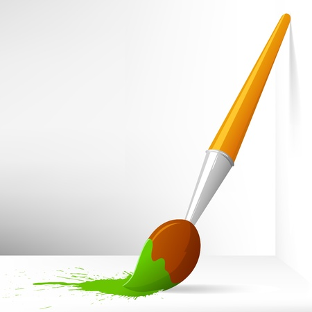 Vector Illustration. Cartoon paint brush with splash on background Illustration