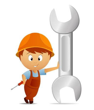 screw head: Vector illustration. Cartoon handyman with huge big wrench Illustration