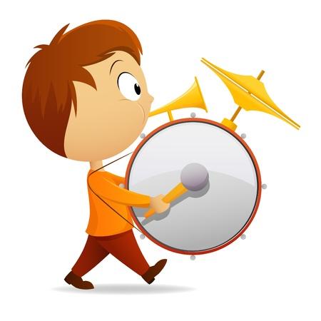 actividad: Ilustración vectorial. Banda de un hombre de dibujos animados con tambor y tubo