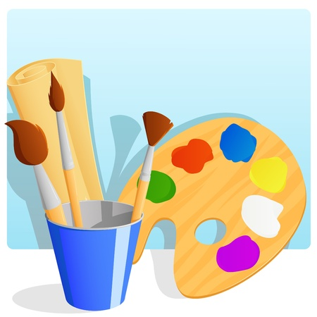 Palette with paint and brushes in bucket and paper scroll with background. Vector illustration Illustration
