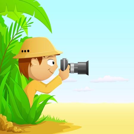Photographer cartoon hunter in rainforest and desert. Vector illustration. Illustration