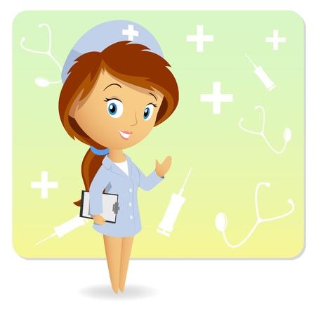 injectie: Cute vrouwelijke verpleegkundige met een tablet notepad grafiek op de achtergrond. Vector illustratie.