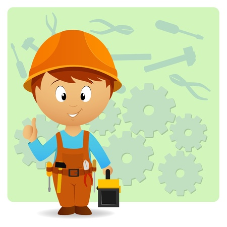 Vector illustration. Cartoon handyman with tools on industry background Vector