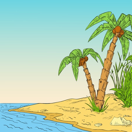 Color sketch of tropical palm on coast of ocean. Vector illustration. Stock Vector - 9818001