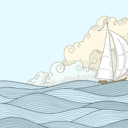 barca a vela: Disegnare a mano retr� in stile mare con le nuvole e barca marinaio. Illustrazione vettoriale.