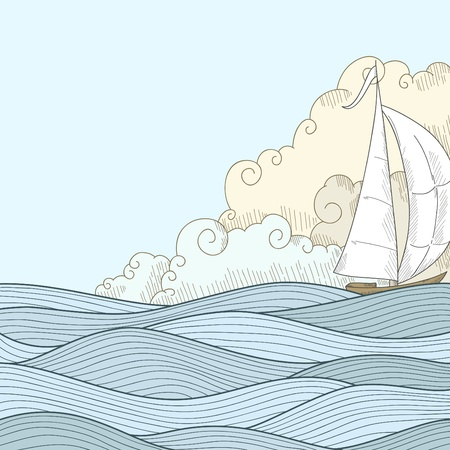 Retro hand draw styled sea with clouds and sailor boat. Vector illustration. Illustration