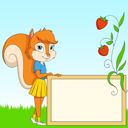 Cartoon furry squirrel with board on grass. Illustration