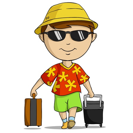 reiziger: Cartoon vakantie outfit man met zak.