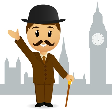 english culture: Cartoon english gentleman greeting on big ben background.
