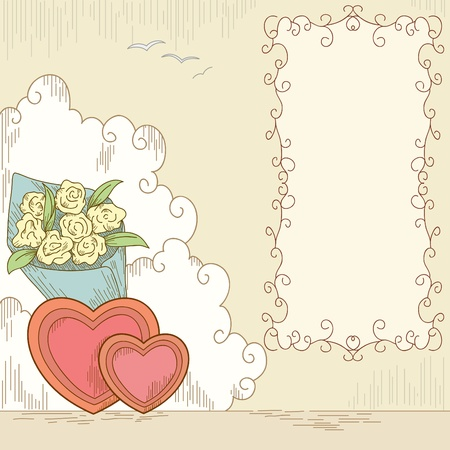 love cloud: Abstract hearts shape with bouquet flowers and banner. Vector illustration.