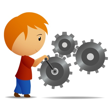 Boy in red shirt who rotate the lever of gear mechanism. Vector illustration. Illustration