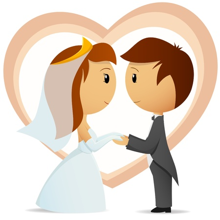 Vector illustration. Cartoon bride and groom hold hand each other on heart shape background Illustration