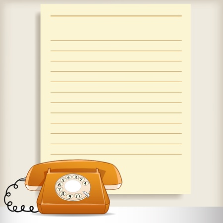 Retro style telephone with blank note page on background. Vector illustration. Vector