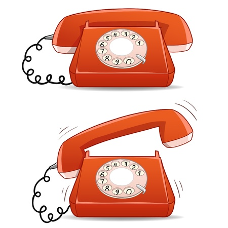 rotary dial telephone: Calm and ringing old-fashioned cartoon phone. Vector illustration.